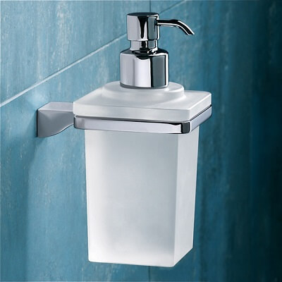 frosted glass soap dispenser