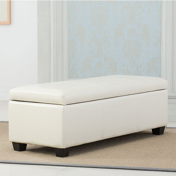Belleze Storage Bedroom Bench 48-inch, Cream