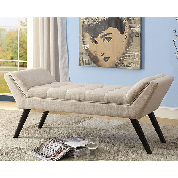 Wholesale Interiors Tamblin Linen Fabric Upholstered Grid-Tufting 50-inch Bench, Beige