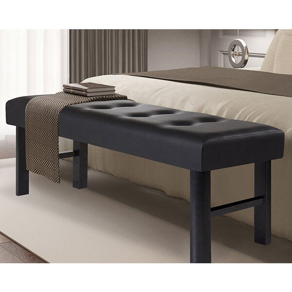 Olee Sleep 18-inch Tall Upholstered Bed Bench Faux Leather, Black