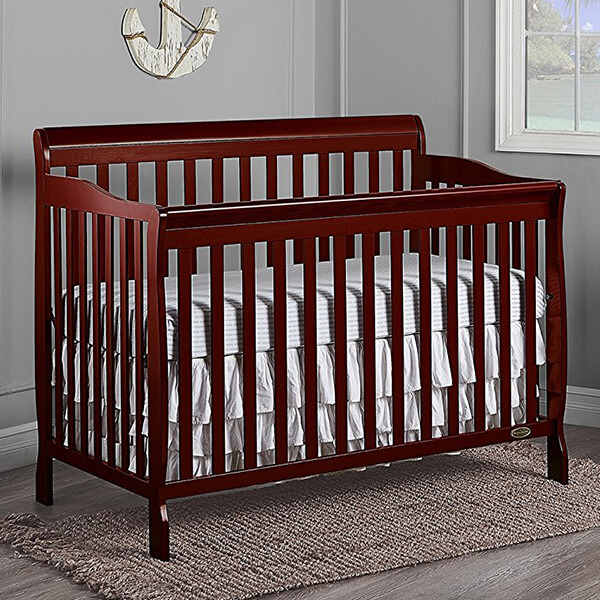 Dream On Me Ashton 5 in 1 Convertible Crib, Cherry