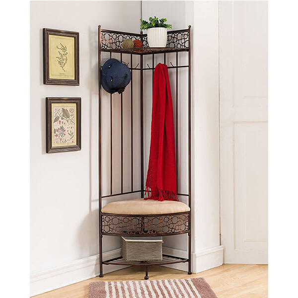 Kings Brand Furniture Brushed Copper Corner Bench with Coat Rack