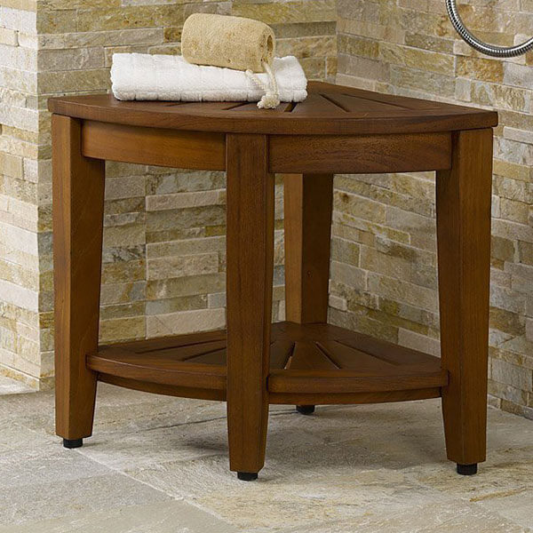 The Original Kai 15.5-inch Corner Teak Shower Bench with Shelf