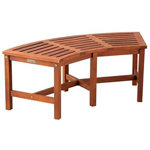 Eucalyptus Solid Wood Curved Bench