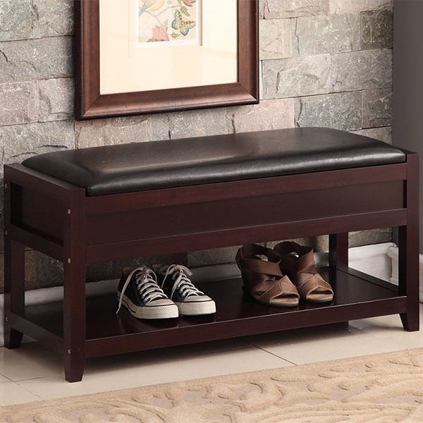 Espresso Bonded Leather Entryway Bench