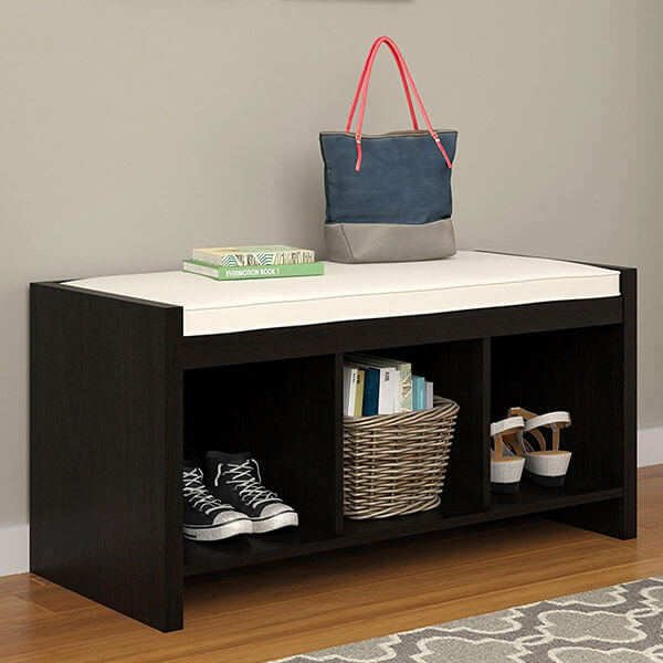 Altra Penelope Entryway Storage Bench with Cushion, Espresso