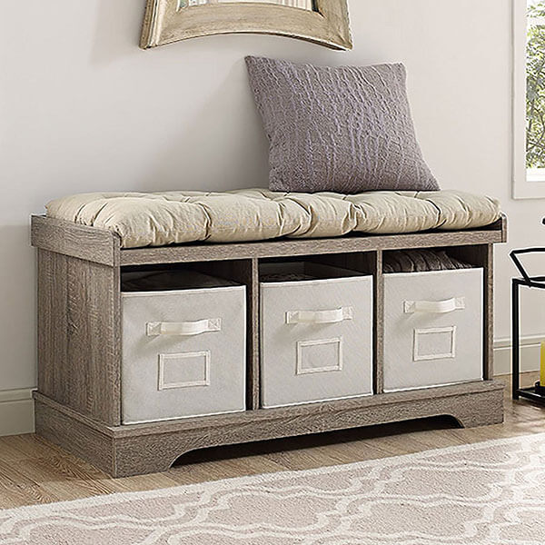 Storage Bench with Totes and Cushion in Driftwood Finish
