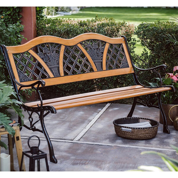 Coral Coast Wood and Metal Garden Bench