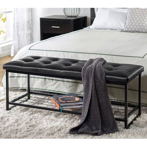 Zinus Faux Leather Bench with Storage Shelf