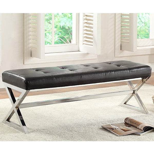Homelegance Metal Base Bench, Black