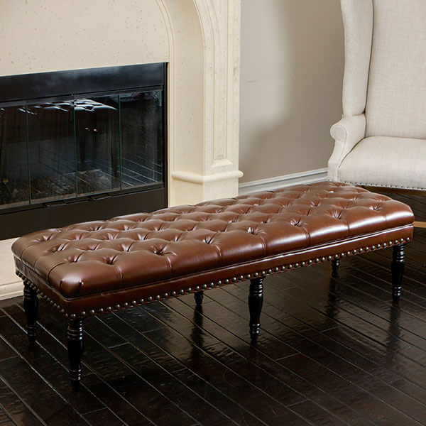 Marcel Tufted Brown Leather Top Bench
