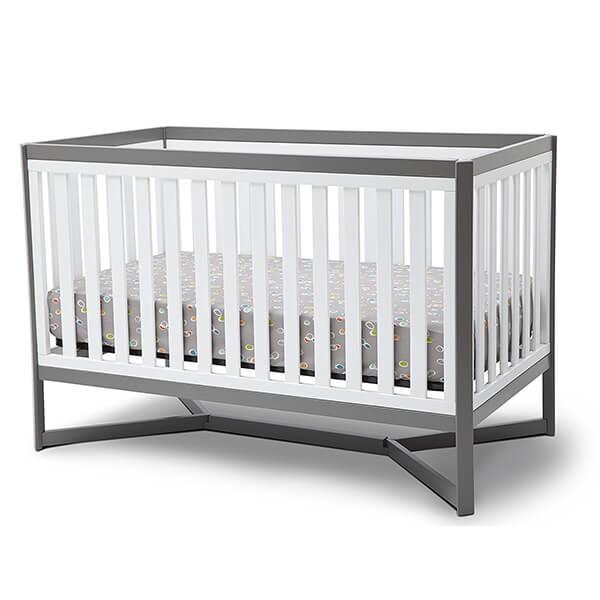 Delta Children Tribeca 4-in-1 Convertible Crib, White/Grey