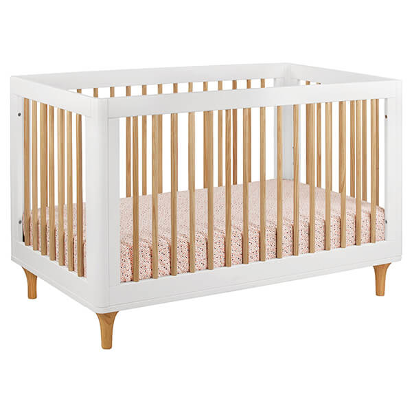 Babyletto Lolly 3-in-1 Convertible Crib with Toddler Rail, White/Natural