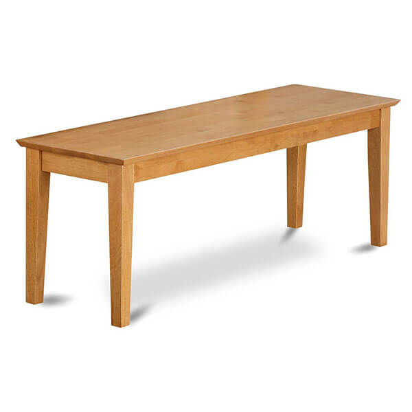 East West Furniture Bench with Wood Seat, Oak Finish