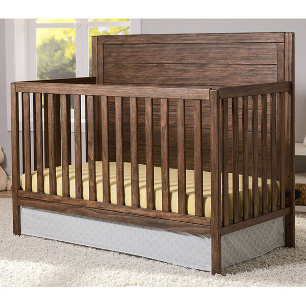 Delta Children 4 in 1 Convertible Nursery Crib, Rustic Oak