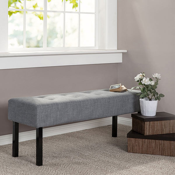 Zinus Memory Foam Tufted Bench