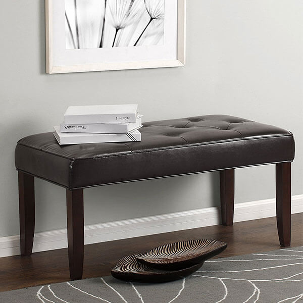 Dorel Living Diamond Tufted Bench, Espresso