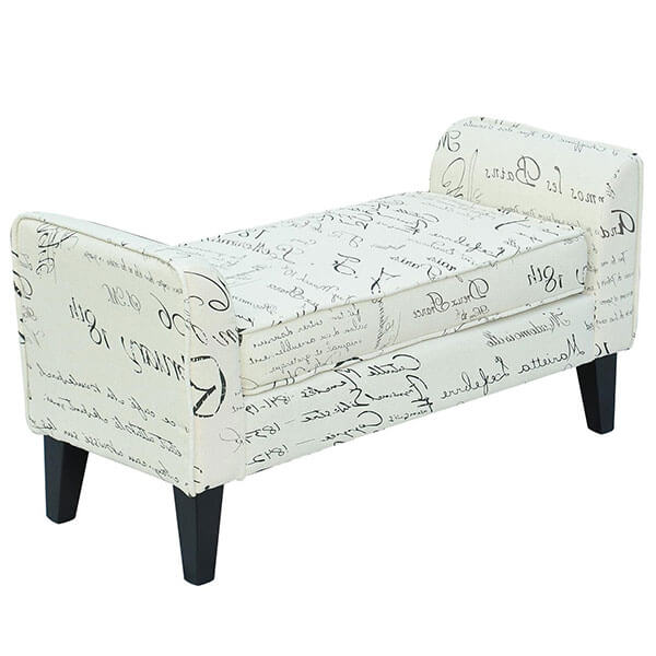 HomCom Modern Linen Armed Entryway Bench, Signature Print