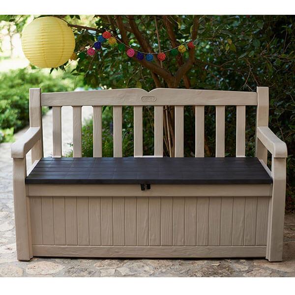 Keter Eden All WeatherPatio Storage Bench, Beige/Brown