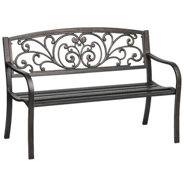 Mosaic Powder Coated Cast Iron Outdoor Patio Bench with Ivy Design Backrest, Black