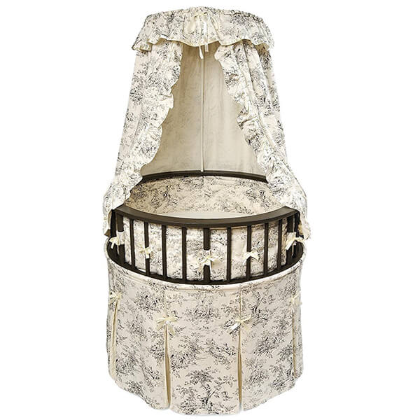 Badger Basket Elegance Round Baby Bassinet, Black with Black Toile