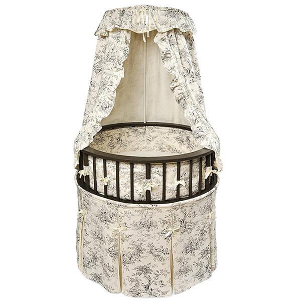 Badger Basket Elegance Round Baby Bassinet, Black with Black Toile