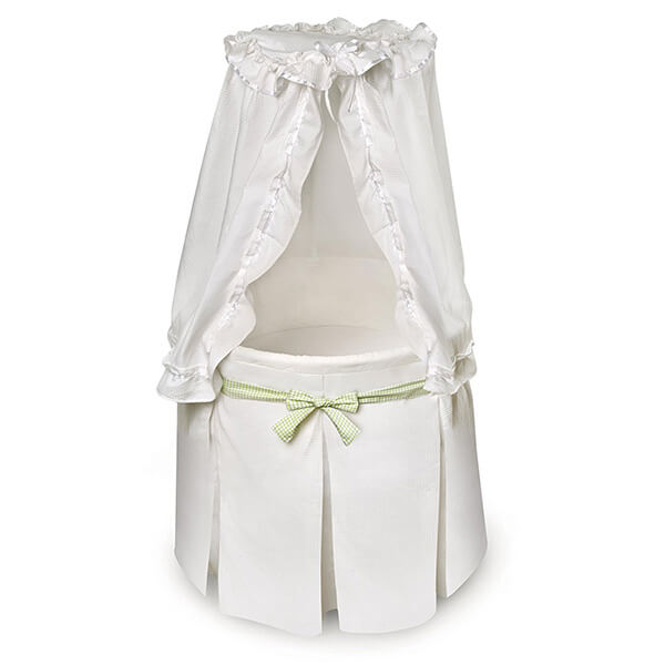 Badger Basket Company Empress Round Baby Bassinet, White/Gingham