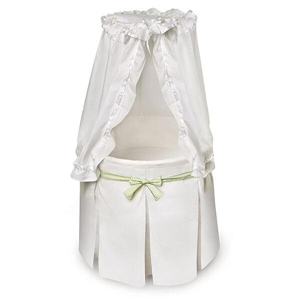 Badger Basket Company Empress Round Baby Bassinet, White/Gingham