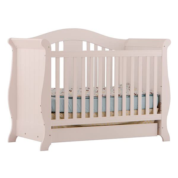 Stork Craft Vittoria 3-in-1 Fixed Side Convertible Crib, White
