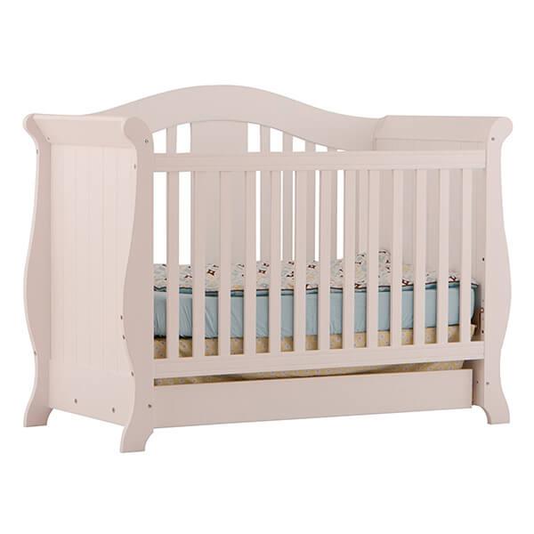 Stork Craft Vittoria 3-in-1 Fixed Side Convertible Crib, White