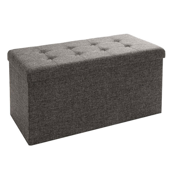 Seville Classics Foldable Storage Bench, Charcoal Gray