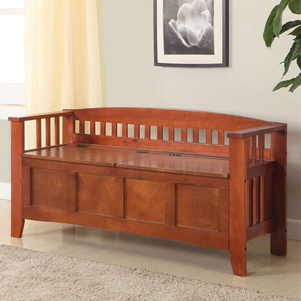 Linon Home Decor Storage Bench, Walnut