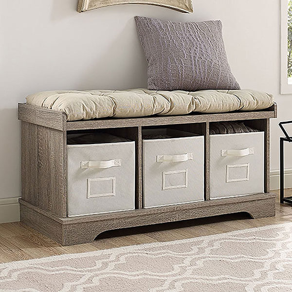 WE Furniture 42-inch Wood Storage Bench with Totes & Cushion, Driftwood