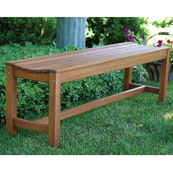 Outdoor Interiors 3 Person Backless Eucalyptus Bench