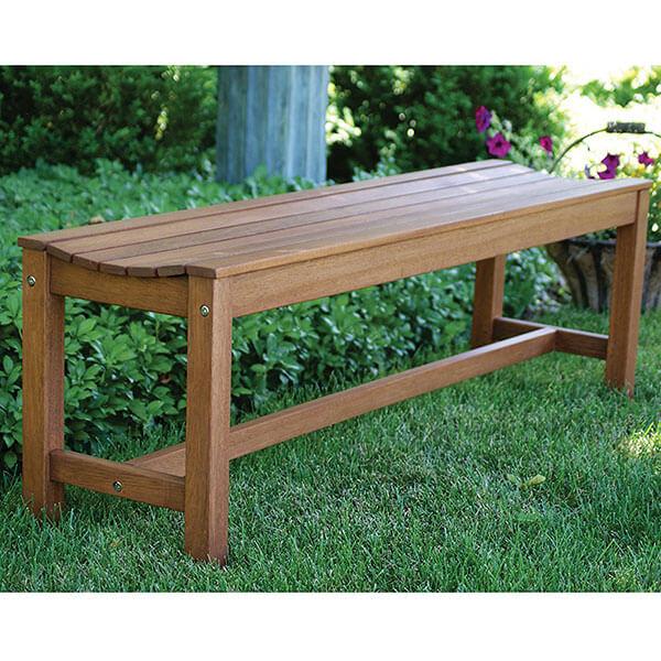 Outdoor Interiors 3 Person Backless Eucalyptus Bench