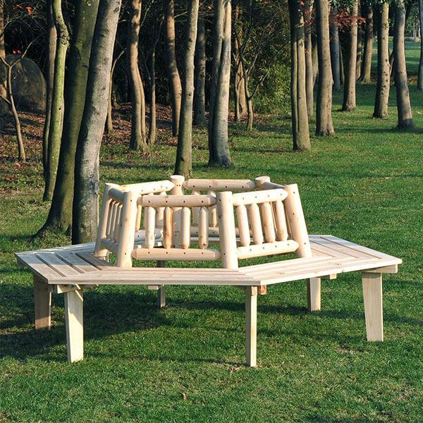 Outsunny 6 Seat Garden Fir Tree Wrap Bench