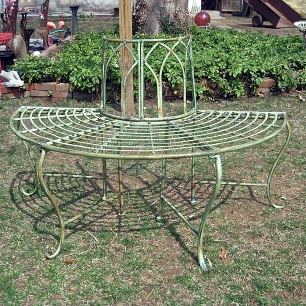 Antique Mint Wrought Iron Half-Round Tree Bench