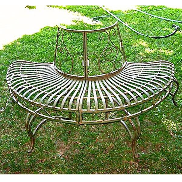Wrought Iron Half-Round Tree Bench, Antique Green