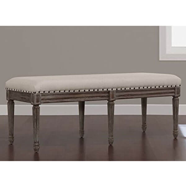 Elements Weathered Espresso Upholstered Contemporary Dining Bench