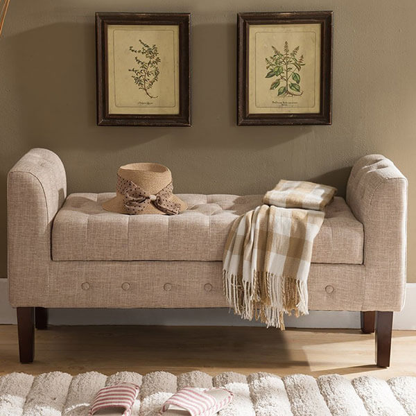 Kings Brand Upholstered Storage Bench