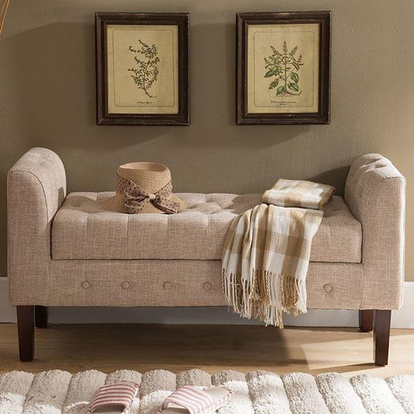 Kings Brand Upholstered Storage Bench