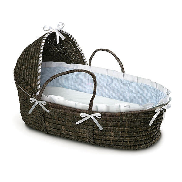 Badger Basket Moses Basket with Hood and Bedding, Espresso/Blue Gingham
