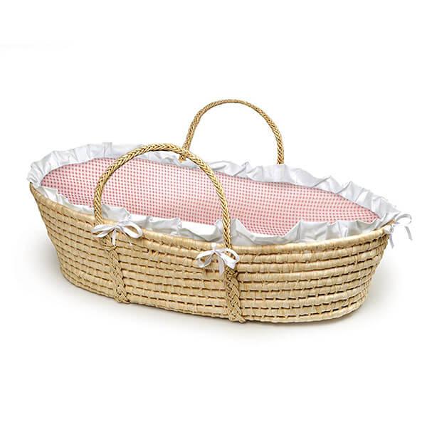 Badger Basket Natural Baby Moses Basket, Pink Gingham