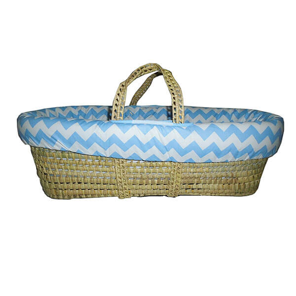 Baby Doll Bedding Chevron Moses Basket, Blue