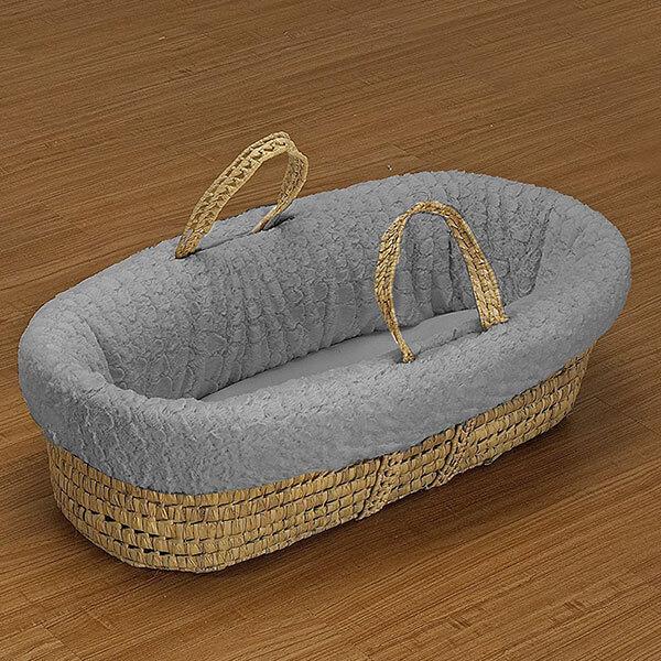 Baby Doll Bedding Sheepskin Moses Basket Set, Grey