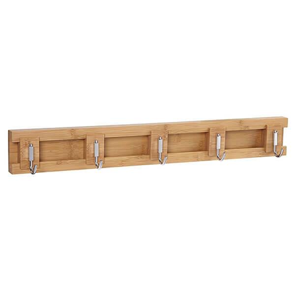 Household Essentials Bamboo Sliding 5-Hook Coat Rack