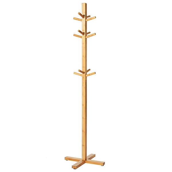 Freestanding Bamboo Wood 12 Hook Coat Rack