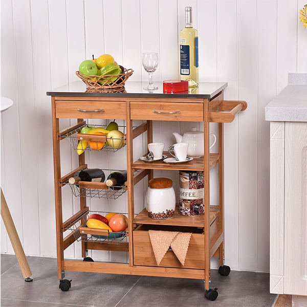 Giantex Bamboo Rolling Kitchen Cart