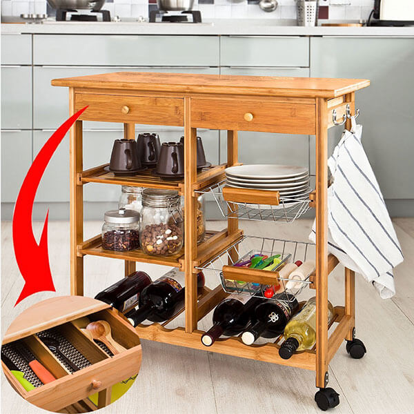 Haotian Bamboo Kitchen Storage Cart