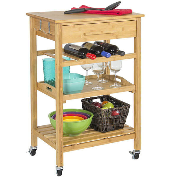 Clevr Rolling Bamboo Kitchen Cart